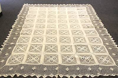 "72x144"" Beige Color 100% Cotton Handmade Crochet Rectangle Vintage Tablecloths"