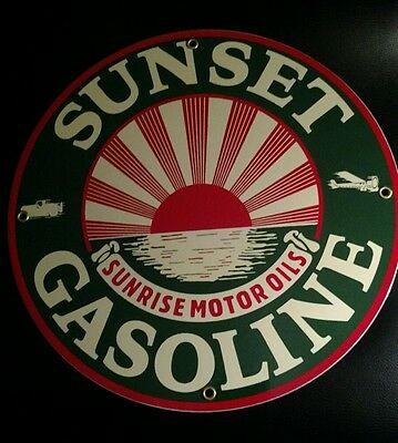 SUNSET GAS Gasoline Oil  Porcelain Advertising Sign...~12""