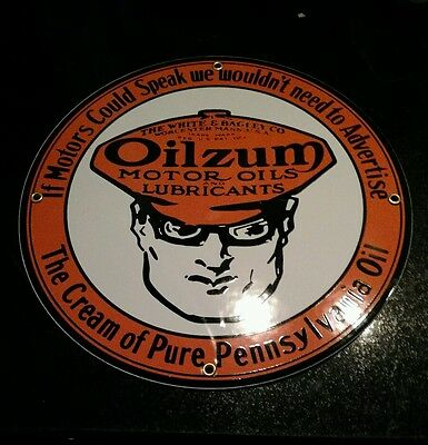 Oilzum Gasoline Gas Oil Porcelain Advertising Sign...~12""