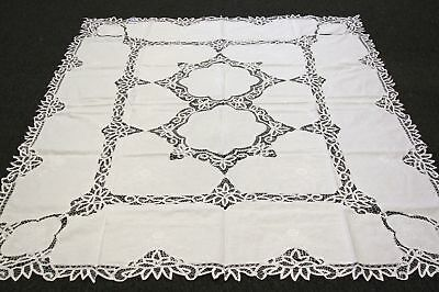 "54x72"" White Cotton Handmade Battenburg Lace Embroidered Embroidery Tablecloth"
