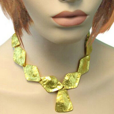 Kenneth Jay Lane KJL Satin Gold Tone Triangle Drop Necklace Hammered 18""