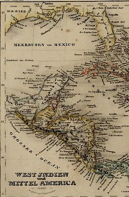 West Indies Caribbean Middle Central America 1849 Meyer detailed antique map