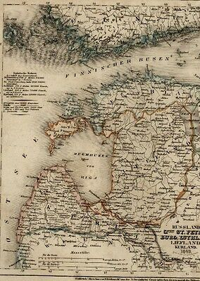 Russia Estonia St Petersburg Kurland Riga Liefland Esthland 1849 antique map