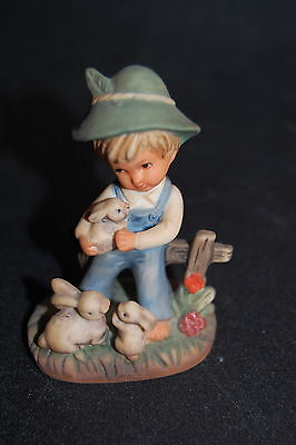 "Vintage 1970's Estate Find 3"" Figure Young Boy with 3 Tan Bunny Rabbits Easter"