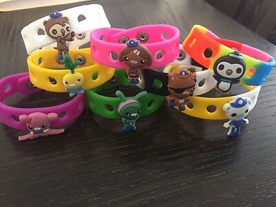 12 Octonauts Silicone Wristbands with charms Birthday Party Favor Bracelets