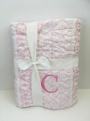 """Pottery Barn ISABELLE Nursery/Toddler Baby PINK Floral Embroidered Quilt """" C """""""