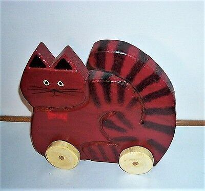 Vtg Large Folk Art Hand Made Solid Wooden Fat Kitty Cat W/wheels - No Nails