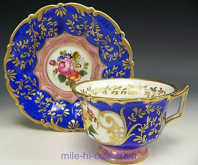 Antique Sevres Hand Painted Roses Tea Cup & Saucer Teacup
