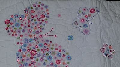 Pottery Barn KIDS Embroidered Mia Floral Butterfly Crib Toddler Quilt Blanket