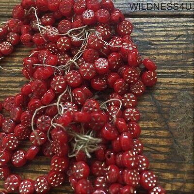 ANTIQUE Ruby GOLD Stars & Dots NAIL HEAD BEADS 4mm GLASS Doll Buttons Sequin lot
