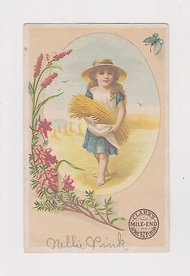 1880s Victorian Trade Card for CLARK'S SPOOL THREAD from NEW JERSEY !