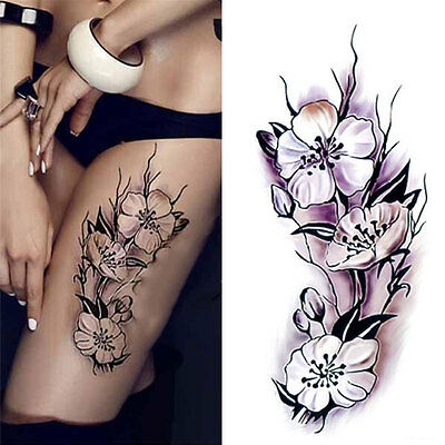 Temporary Tattoos Body Sticker Tattoo Paper Black Rose Fake Tatoo