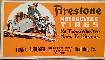 "Firestone Motorcycle Tires Antique Original Calling Card  6 X 3 1/2"" Vintage"