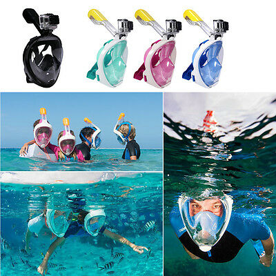 Full Face Mask Surface Practical Swimming Diving Snorkel Scuba for GoPro Breath