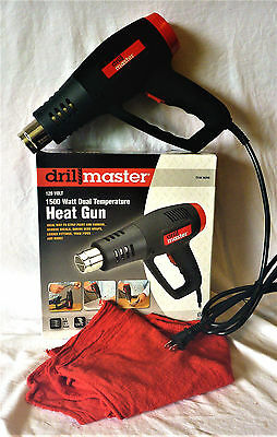 DRILL MASTER 1500 WATT DUAL TEMP. HEAT GUN WITH A 5pk. RED SHOP TOWELS