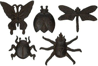 New 2.8 x 0.7 x 3.6 inches Durable Antique Brown Cast Iron Insect, Set of 5