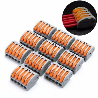 10pcs 5 Way Spring Lever Terminal Block Electric Cable Wire Connector PCT-215