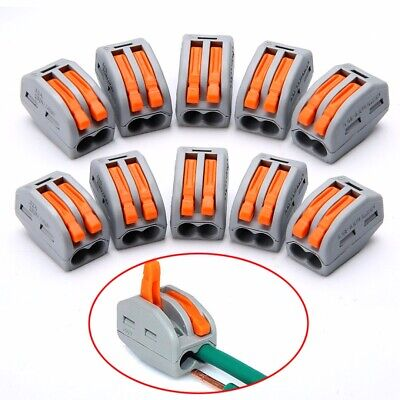 10pcs Spring Lever Terminal Block Electric Cable Wire Connector 2 Way PCT-212