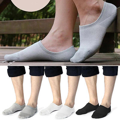 5 Pairs Mens Womens Invisible Bamboo Fiber Low Cut No Show No-Slip Ankle Socks