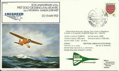 Amelia Earhart 50th Ann. First Solo Female Atlantic Crossing Concorde Flown FDC