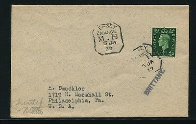 Great Britian King George Sixth Jersey France Mobile Box 1939 Brittany