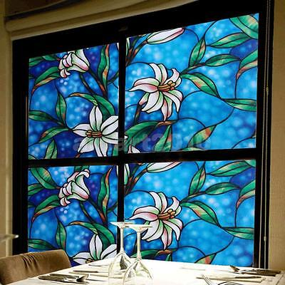 5CM*2M PVC Home Window Film Cover Frost Glass Privacy Stickers Lily Flower