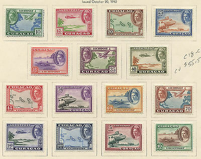Netherlands Curacao 1942 Air Mail set complete Sc #C18-C32 mhr