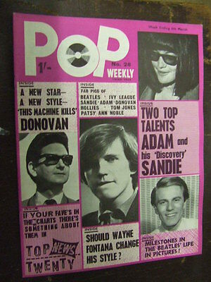 Pop Weekly No 28 1965 (3rd series).  The Golden Age of UK Pop Music!