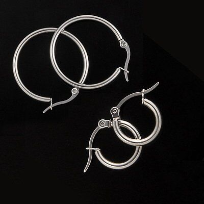 2019 Mens Women Fashion 316L Stainless Steel Blank Silver Hoop Earrings Ear Stud