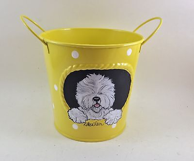 Cute yellow polka dot metal  container with hand painted Old English Sheepdog