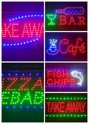 LED Open Sign Board Super Bright Flashing Bar Cafe Shop Window Hanging Display