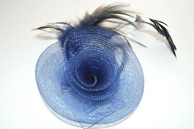 NEW navy blue net rosette with feather detail fascinator clip and brooch pin