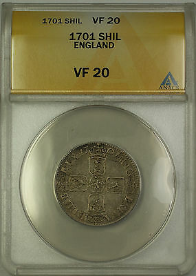 1701 England Silver Shilling Coin William III ANACS VF-20