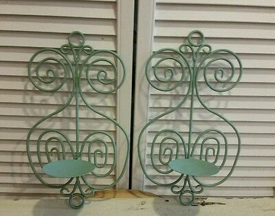 Shabby Chic Metal Candle Holder Wall Sconce Set of 2 Pillar turquoise blue green