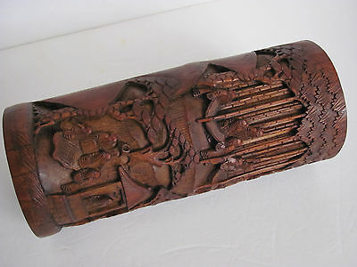 Antique Large Chinese Carved Figure and Landscape Designs Bamboo Brush Pot 11''