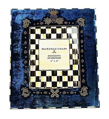"MacKenzie Childs AMAZING HIGHBANKS VELOUR FRENCH BLUE 4""x6"" FRAME BRAND NEW"
