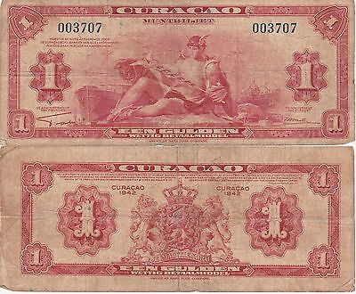 Curacao-Netherlands Ant 1 Gulden Banknote 1942 Fine Condition Cat#35-A-003707