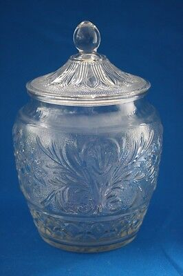 Depression Clear Anchor Hocking Sandwich Glass Cookie Jar With Lid