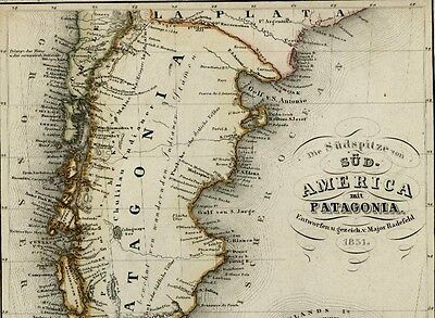 South America La Plata Falkland Islands Patagonia 1849 Meyer detailed antique