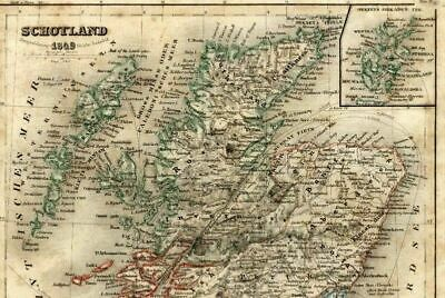 Scotland Glasgow Edinburgh Shetland Orkney Isles 1849 Meyer detailed antique map