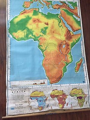 Vintage Classroom Retractable Nystrom Political Africa Map