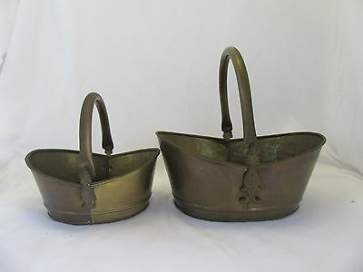 Lot of 2 Vintage Brass Planters Baskets Movable Handles Patina