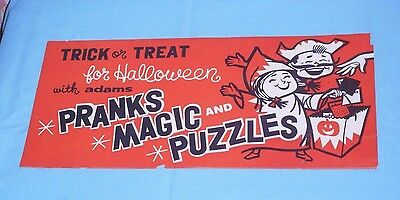 vintage ADAMS PRANKS MAGIC and PUZZLES trick treat HALLOWEEN SIGN store display