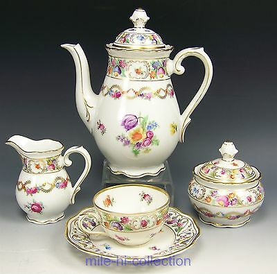 "Bavaria Schumann ""chateau"" Demitasse Tea Coffee Pot Creamer Sugar Cup Saucer Set"