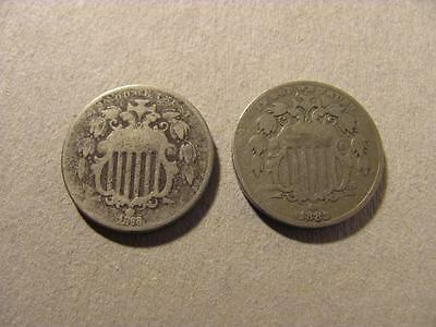 Shield Nickel 2 Coin Lot 1868 1882 Circulated Coins (M57)
