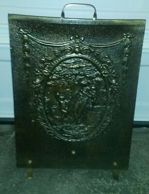 vintage embossed  fire guard fireplace screen with brass handle children dancing