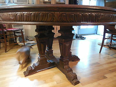 Round Ornately Carved Oak Table --53 inches across