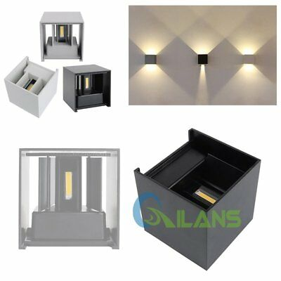 7/12W Modern LED Wall Lights Warm White Up Down Cube Indoor Outdoor Sconce Lamps