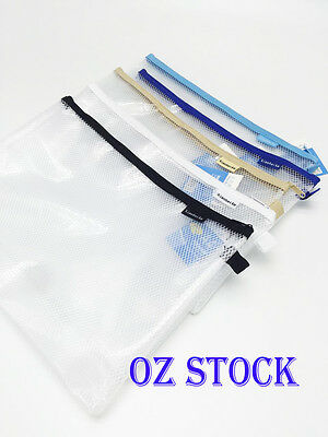 A4 Clear Mesh Zip Document Wallet Folder Pencil Case File Secury Storage Bag