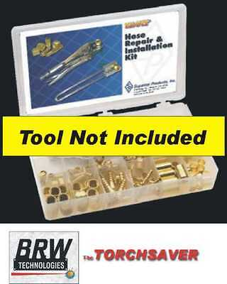 B-size oxygen & fuel gas brass hose repair fitting kit w/pliers - RK26LT
